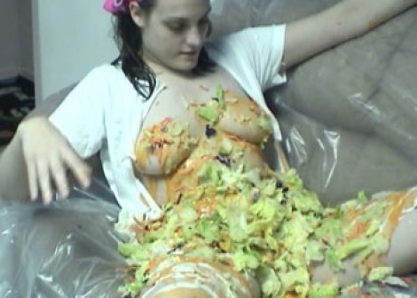 Danni gets messy with salad